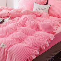新品秒杀冬季兔兔绒四件套珊瑚绒水晶绒被套床单加厚保暖法莱绒1.8米床品