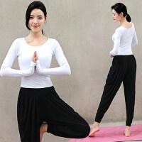 女士套指长袖白色上衣T恤瑜伽服套装女 新款显瘦健身服运动舞蹈衣服表演服女
