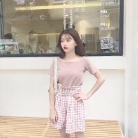 韩版时尚休闲套装夏装女装一字领短袖T恤打底衫上衣+阔腿裤两件套 图色