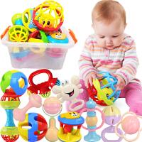 【悦乐朵玩具】儿童早教益智收纳盒装手摇铃牙胶摇铃12件套装婴幼儿宝宝0-6个月-1岁玩具