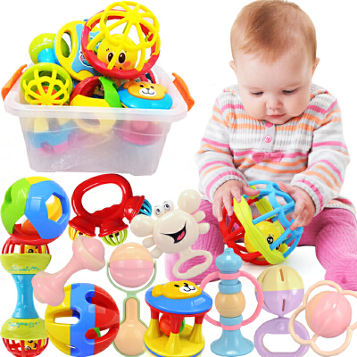 【悦乐朵玩具】儿童早教益智收纳盒装手摇铃牙胶摇铃12件套装婴幼儿宝宝0-6个月-1岁玩具 早教益智玩具总动员