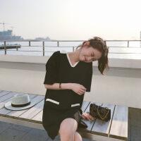 清新黑白撞色针织翻领连衣裙2018春新款女可 黑色