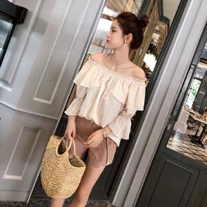 谜秀衬衫女2018夏装新款韩版宽松甜美荷叶边衬衣喇叭袖气质上衣潮