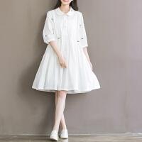 孕妇装夏装2018新款文艺小清新森系刺绣纯棉大码宽松七分袖连衣裙9622 白色小花