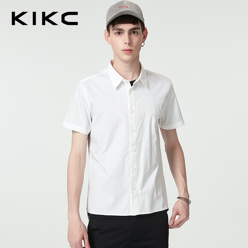 kikc男装短袖衬衫2018夏季新款白色纯棉背部字母印花休闲上衣男潮