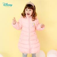 迪士尼Disney童装 女童外套新品卡通公主中长款可拆卸防风保暖休闲秋冬装184S973