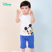 迪士尼Disney童装 男童可爱米奇印花套装夏季新品儿童纯棉短袖哈伦短裤192T907