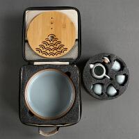 功夫茶具套装瓷器旅行茶具布包茶壶办公家用陶瓷茶盘竹 壶+4杯+茶盘