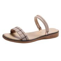 WARORWAR 法国新品YN38-209夏季韩版格子布平底舒适女凉鞋