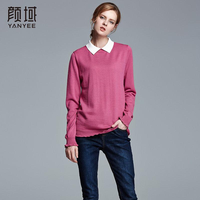 颜域品牌女装2017冬装新款衬衫领毛衫针织衫套头长袖女士红色毛衣质感羊毛面料,温暖舒适
