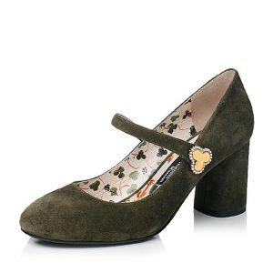 Belle/百丽2017秋季大英联名款时尚复古羊皮绒面女玛丽珍鞋BQN11CQ7