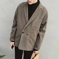 冬装韩版文艺纯色宽松毛呢男士风衣外套学生大衣风衣