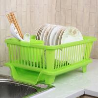 厨房沥水碗架碗筷餐具收纳盒放碗碟滴水碗盘置物架柜角架篮蓝