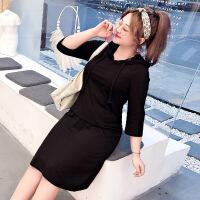 特大�a女�b2019春季新款200斤胖妹妹黑色�@瘦�B衣裙�l衣裙 黑色