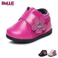 百丽Belle童鞋婴幼童宝宝鞋女童小皮鞋牛皮婴儿鞋加绒保暖学步鞋 (0-4岁可选) DE5906