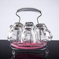 玻璃杯子透明耐热家用水杯套装无盖喝水杯子6只装带把茶杯带被托SN44 迷你杯6个+圆形提手架