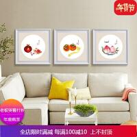 十字绣小幅三联画水果中国风餐厅客厅简约现代印花 线绣新款 自店营年货