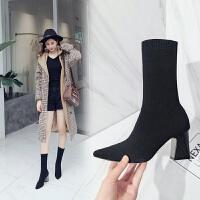 短靴女秋季2018韩版新款尖头粗跟弹力袜靴针织中筒靴百搭高跟踝靴 黑色 偏大一码