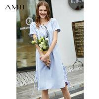 【预估价228元】Amii极简仙气法式chic连衣裙女2019夏季新款V领两件套开叉绑带裙