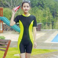 保守短袖加肥大码学生运动五分训练泳衣女连体平角