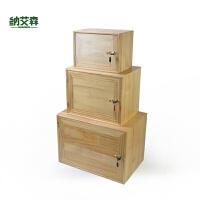 带锁小柜子储物柜带门置物柜家用实木柜单个储物箱收纳柜