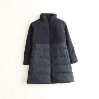 冬装女中长款羽绒服 立领毛呢拼接修身日系羽绒外套26X