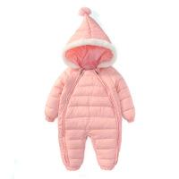 婴儿羽绒连体衣服男宝宝加厚保暖新生幼儿哈衣外出抱衣网红冬季装