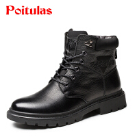 波图蕾斯男靴冬季男款真皮马丁靴男英伦中筒系带保暖棉靴雪地靴皮靴头层牛皮军靴B9551
