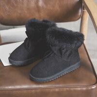 短筒雪地靴女一脚蹬棉靴冬潮韩版百搭短靴厚底加绒面包鞋