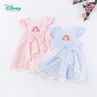 【3件3折到手价:84】迪士尼Disney童装 女童甜美连衣裙夏季新品俏皮小飞袖裙子公主印花网纱裙