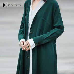 [AMII东方极简] JII[东方极简]2018春秋新款女装宽松棉质外套开叉大码百搭中长款风衣