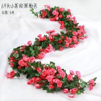 仿真玫瑰花假花藤条客厅空调管道缠绕农家乐装饰遮挡塑料藤蔓植物 其他颜色 69头玫瑰玫红
