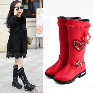 小皇鸟女童靴子秋冬高筒长靴儿童马丁靴长筒靴公主靴加绒防水中筒靴韩版