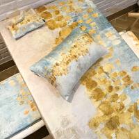 棉花大盗雪尼尔绒面加厚餐厅书桌桌布家用蓝色黄色长方形台布茶几 麦金桌布
