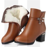 秋冬季短靴中跟����真皮女靴中年皮靴粗跟加�q羊毛棉鞋大�a41-43SN1572