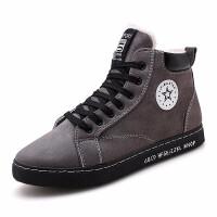 高中初中学生加绒棉鞋青少年带毛休闲深腰板鞋加棉男鞋高腰运动鞋