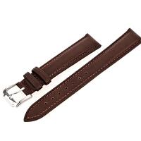 车线平纹无纹真皮手表带男士手表配件女款小牛皮带黑棕色20MM