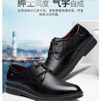 富贵鸟男鞋夏季男士休闲皮鞋英伦真皮圆头系带商务软底软面皮鞋子