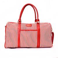 轻便短途手提旅行包女旅游袋行李包韩版pu条纹运动瑜伽健身包 红色 大