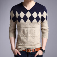 秋冬季新款男士毛衣薄款V领长袖青年修身针织毛衫弹力厚男装