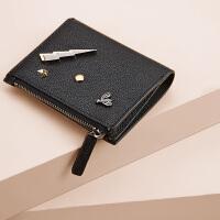 【支持礼品卡】HR赫莲娜短款钱包女韩版个性时尚潮流小蜜蜂迷你拉链折叠两折钱夹