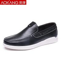 奥康新款韩版潮流男鞋子男士休闲鞋英伦皮鞋透气板鞋男乐福鞋