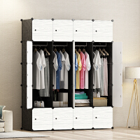 简易衣柜木纹塑料组合收纳柜子大衣柜简易经济型卧室组装衣柜