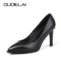 职业高跟鞋女礼仪尖头浅口单鞋黑色中跟细跟ol空姐正装工作鞋