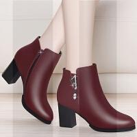 加绒皮鞋女中跟鞋子女冬2018新款女士靴子妈妈鞋短靴女粗跟高跟鞋SN6036