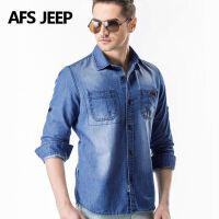 AFS JEEP牛仔长袖衬衫男士长袖衬衣吉普大码宽松薄款长袖上衣6518