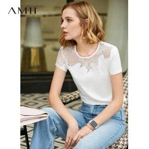 【到手价:64.9元】Amii极简洋气时尚心机性感T恤女2019夏季新款圆领拼蕾丝短袖上衣