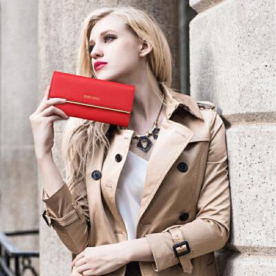 2018新款女士钱包长款真皮手拿包欧美牛皮大容量三折女款钱夹皮夹