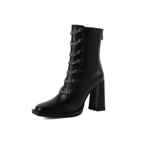 WARORWAR法国新品YG09-H579冬季欧美羊反绒粗跟高跟两穿女士靴子毛线短靴