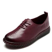 妈妈鞋软底皮鞋大码女鞋中老年单鞋平底鞋女春秋季牛筋底舒适